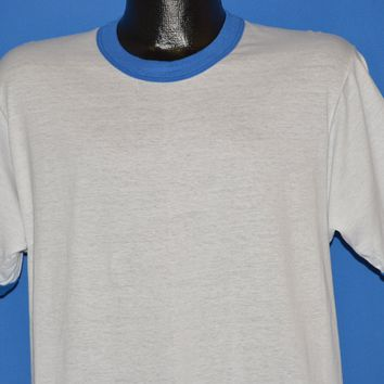 80s Blank White And Blue Ringer t-shirt Medium