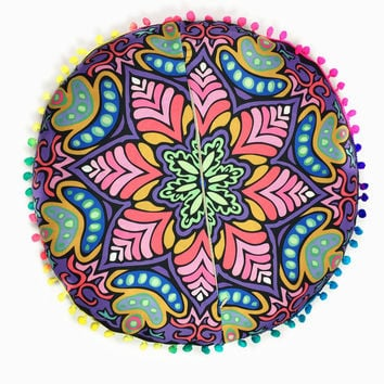 High Quality  Indian Mandala Floor Pillows Round Bohemian Cushion Cushions Pillows Cover Case