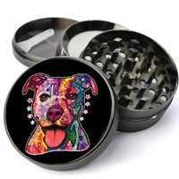 Pitbull Rainbow Psychedelic Dog Deluxe Metal 5 Piece Herb Grinder With Fine Screen - Create Your Own Grinder!