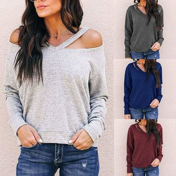 Womens V Neck Cold Shoulder T-Shirt Blouse Casual Long Sleeve Pullover Tops Tee
