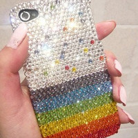 Handmade iphone 5 case, iphone 4S case, iphone 4 case, rhinestone, pearl, crystal,bling,cute,birthday gift, iphone accessories,rainbow