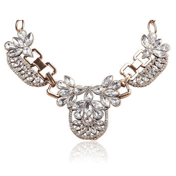 Floral Rhinestone Collar Necklace With Metal