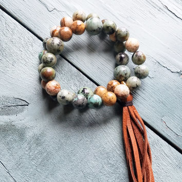 African Turquoise and Picture Jasper Bracelet with Tassel 021n