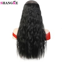 22'' Long Wavy Hair Extensions 5 Clips in Fake Hair Extension Heat Resistant Synthetic Fake Hairpiece Hairstyle SHANGKE
