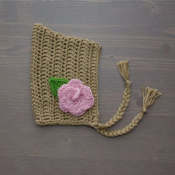 Crochet Pixie Bonnet with Flower, Crochet Baby Bonnet, Crocheted Baby Hat, Crochet Baby Girl Hat, Newborn Photography Prop, Baby Shower Gift