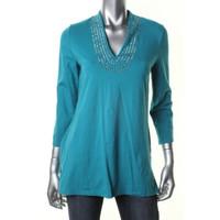 Jones New York Womens Knit Embellished Pullover Top