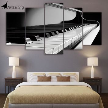 HD Printed 5 Piece Canvas Art Piano Keys Painting Music Instrument Wall Pictures for Living Room Modern Free Shipping CU-1637C