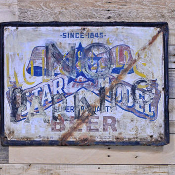 RARE Vintage Star Model Beer Sign, Metal Beer Sign, Old Metal No Parking Sign, Star Union Products Co Peru Illinois
