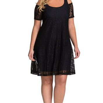 Plus Size Women's Mynt 1792 Cold Shoulder A-Line Lace Dress,