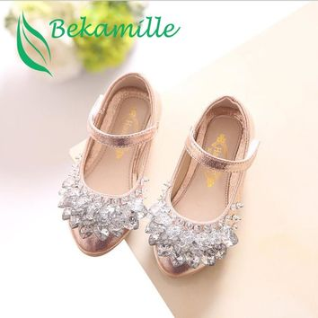 Bekamille Children Rhinestone Glitter Kids Girls leather Shoes Princess Girls Sandals Toddler Big Girls Wedding Party Shoes
