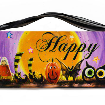 Happy Halloween Pumpkin, Black Cat, Owl and Witch Lighted Sign Canvas Wall Art Print