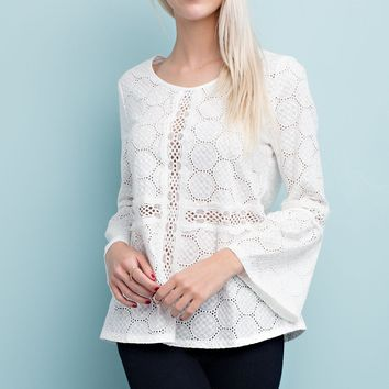 White Long Sleeve Embroidered Cotton Sleeve Blouse