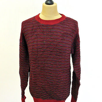 Vintage 90s Red Weaving Shaker Knit Jumper Sweater Large