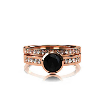 Black Spinel engagement ring set, rose gold ring, diamond wedding, bezel, half eternity ring, gothic engagement, black spinel solitaire