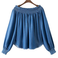 Blue Off Shoulder Denim Top with Raw Hem