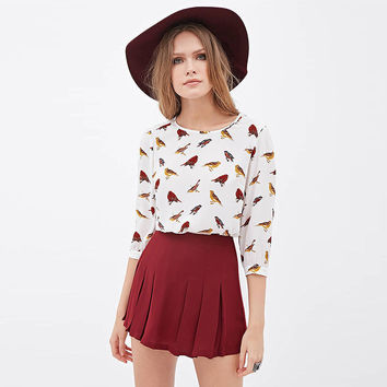 White Hand-Painted Bird Print Loose Chiffon Top