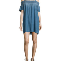 Current/Elliott The Madeline Cold-Shoulder Shift Dress, Davis