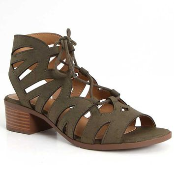 City Classified Dalles Lace Up Heels in Olive Khaki DALLES-S-KHAKI