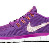 Nike Free 5.0 - Crystallized Swarovski Swoosh - Purple/Orange