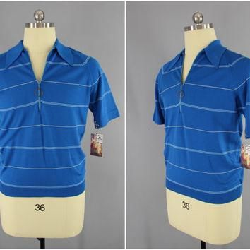 Vintage 1970s Men's Ban-Lon Shirt / 70s Preppy Men's Shirt / Blue Striped Knit Polo Sh