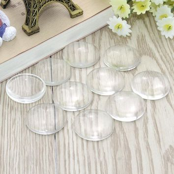 100 pcs/lot 10mm 12mm 16mm 18mm 20mm 25mm Domed Round Transparent Clear Glass Cabochon Cameo Setting Base Set DIY Snap Buttons
