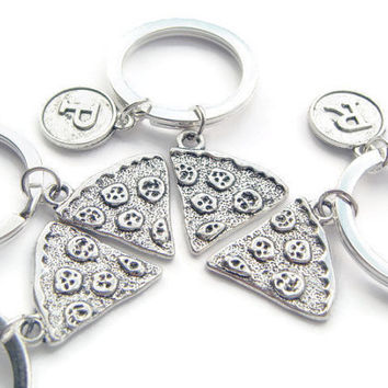 4 Pizza Slice Keychains, Personalized Family Keyrings, Best Friends Group Gift, Bridesmaid Gifts, Food Jewelry, Sorority Sisters Tokens