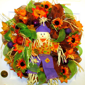 Fall Wreath, fall deco mesh wreath,scarecrow wreath, wreaths,Fall Mesh Wreaths, Autumn Decor,orange green purple,Sunflowers