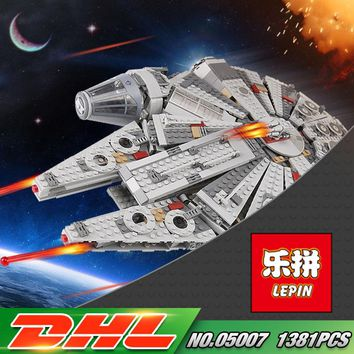 DHL LEPIN 05007 Star Series War 1381pcs Building Blocks Force Awakens Millennium 75105 Toys Falcon Model Kids Toy Christmas Gift