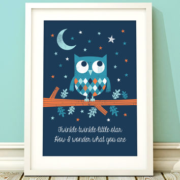 Nursery Art Boy Owl Print Boys Room A