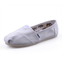 Men Women Soft Casual Canvas Summer Breathable TOMS Shoes White Flats