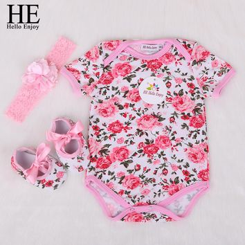 HE Hello Enjoy newborn baby clothes girls body infantis short baby clothing cotton floral Jumpsuits Bodysuit Baby set 3pcs 2018