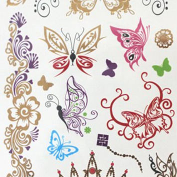 Crown Floral and Butterfly Pattern Waterproof Tattoo Sticker