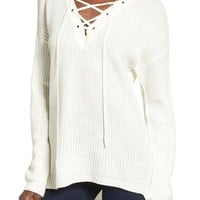Love by Design Lace-Up Sweater | Nordstrom