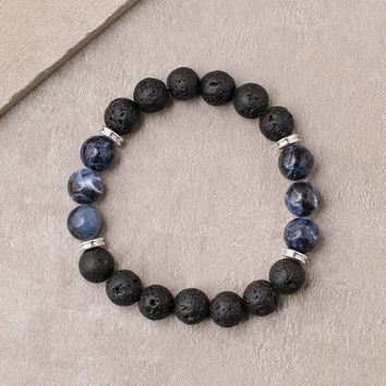 Lava and Sodalite Bead Bracelet