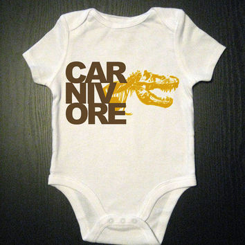 Dinosaur Onesuit Carnivore Baby Bodysuit by VicariousClothing