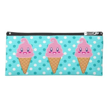 Kawaii Ice Cream Cone teal polka dots Pencil Case