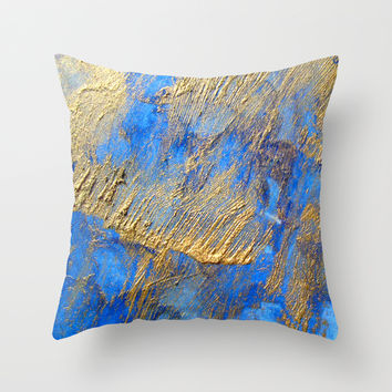 Blue and Gold Throw Pillow by Haroulita | Society6