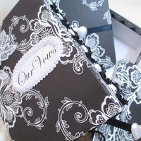 Wedding Vow Book Set - Black and White- with Matching Keepsake Box – Personalized
