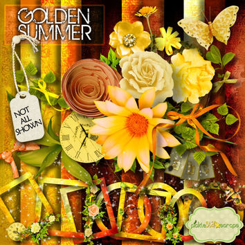 Golden Summer - Sunset summer themed Digital Scrapbook Kit - printable 12x12inch backgrounds -and  FREE QuickPage