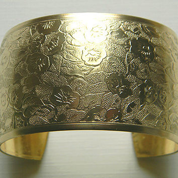 Raw Brass Floral Domed Victorian Style Cuff Bracelet - 1 pc.
