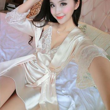LMFCI7 2017 New Summer Women Long Sleeve Silk Sleepwear Nightgown Set Temptation Sexy Robe & Nightdress Two Piece Lady Cute Sleepshirts