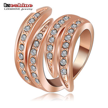 LZESHINE Newest Angel's Wing Engagement Rings 18K Rose Gold Plating and Pave Czech Crystals Fashion Jewelry anillos  Ri-HQ0063