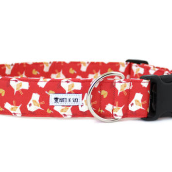 Dog Collar, Girl Dog Collar, Boy Dog Collar, Chinese Food Dog Collar, Funny Collar, 2 Inch Wide (Upgrade to Metal Buckle or Martingale)
