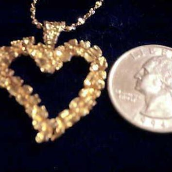 bling gold plated love big nugget heart god charm chain hip hop necklace jewelry