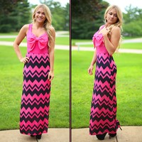 Take A Bow Chevron Maxi in Fuchsia