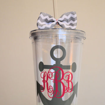 Monogrammed Acrylic Anchor Tumbler. 16 ounce cups. Bridesmaid gifts