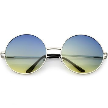 Retro Oversize Circle Sunglasses Thin Metal Arms Color Gradient Lens 62mm