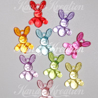 8 Bunny Rabbit pendants Bead for bubblegum necklaces kandi rave raver gumball earrings pony bracelets Deco Decodent party favor Chunky Beads