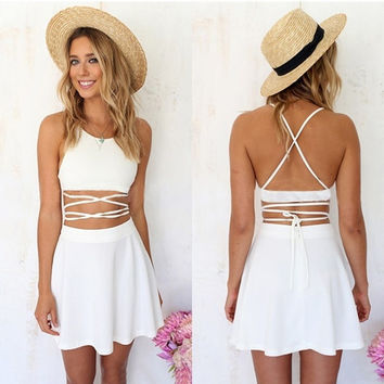 New Women Sexy 2PCS Sets Dress Straps Bandage Crop Tops Pleated Mini Skirt  7_S SV018781 = 1916876612