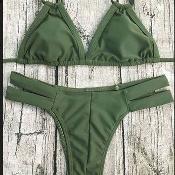 Army Green Bikini Set Swimwear Beach Swimsuit Bandage Bathingsuit